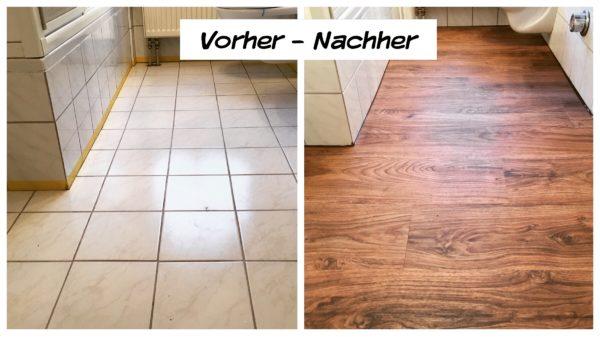 Vorher und Nachher - was für ein großer Unterschied. Der Kunde war begeistert, wie schnell, sauber und einfach der neue Bodenbelag von uns eingebaut wurde.