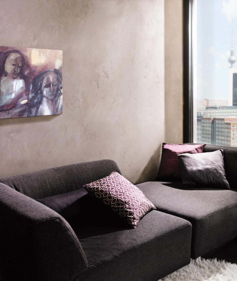 Wandgestaltung Wohnzimmer in Betonoptik