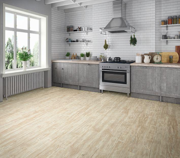 Da der Designbelag robust und wasserfest ist eignet er sich perfekt als Fußboden in der Küche