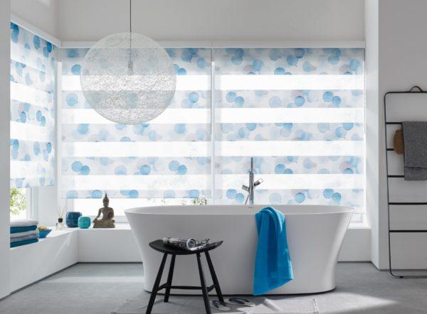 Doppelrollo Blue ink jab Anstoetz Trebes Raumausstattung Sonnenschutz Sichtschutz